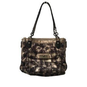 Coach Kristin Embroidered Plaid Sig C Metallic Bag